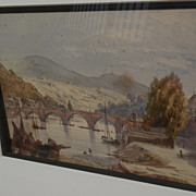 Antique watercolor painting of Heidelberg Germany dated 1877