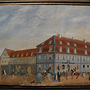 German art circa 1850 charming antique gouache drawing of a town with figures and buildings