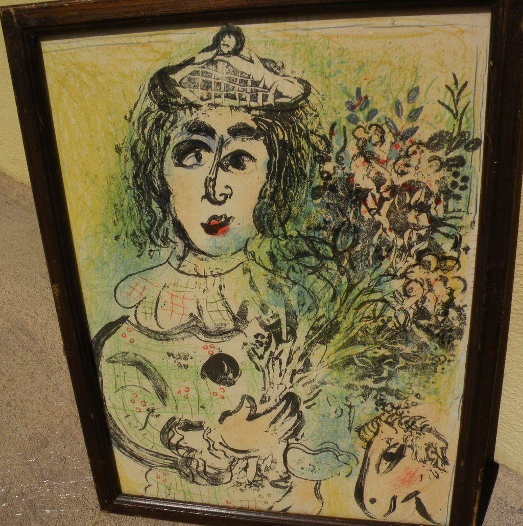 """MARC CHAGALL (1887-1985) original lithograph print """"Le Clown Fleuri"""", 1963"""