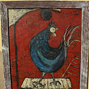 """ANGEL PONCE DE LEON (1925-) modernist 1954/55 painting """"Coq"""" by noted Spanish artist"""