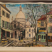 ALOIS LECOQUE (1891-1981) pencil signed hand colored by artist lithograph print of Montmartre scene