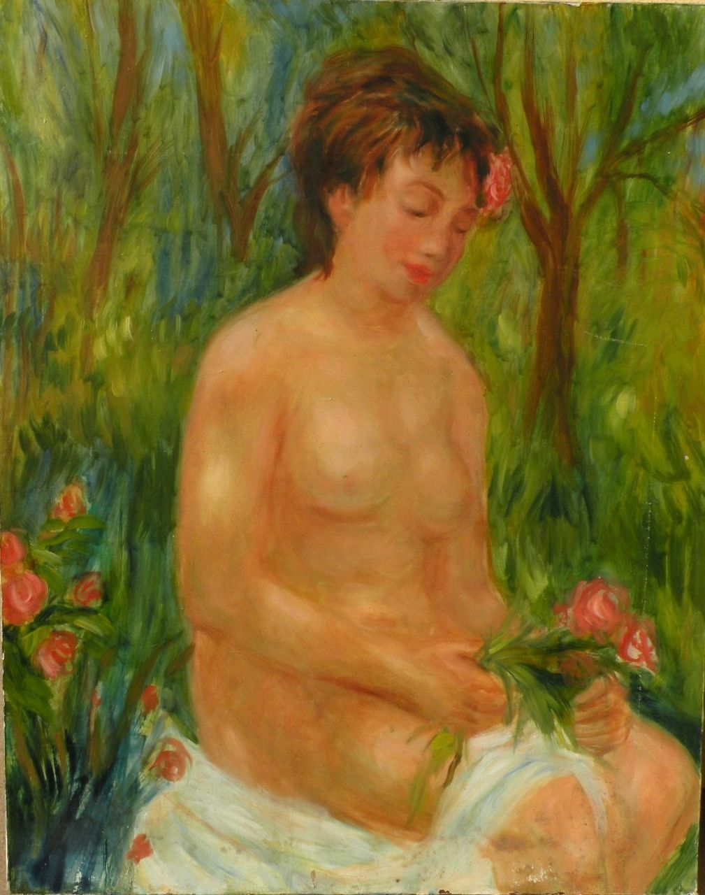 GREGORY FRANK HARRIS (1953-) impressionist painting of young nude by noted American contemporary artist