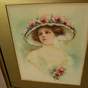 Early 20th century American watercolor of a young woman in flowered hat