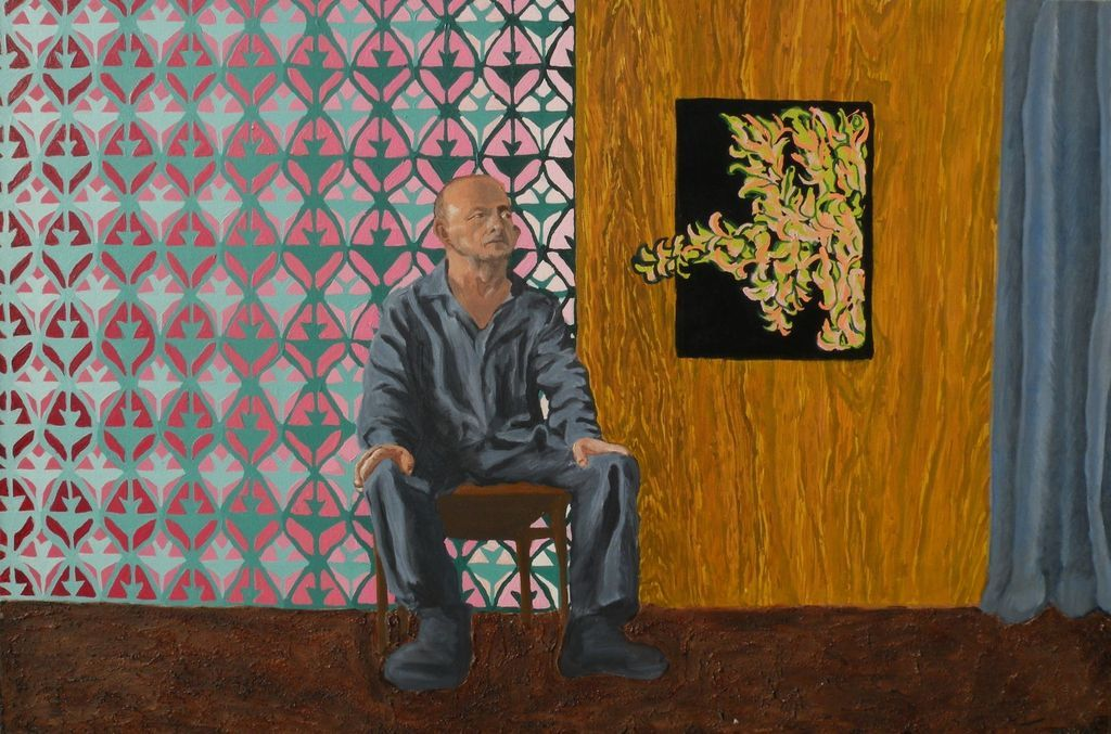 Contemporary American painting of seated man, signed Tayler