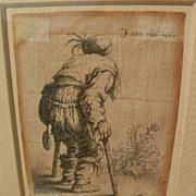 "JAN GILLISZ VAN VLIET (1605-1668) original etching ""Beggar on Two Crutches"" circa 1635"