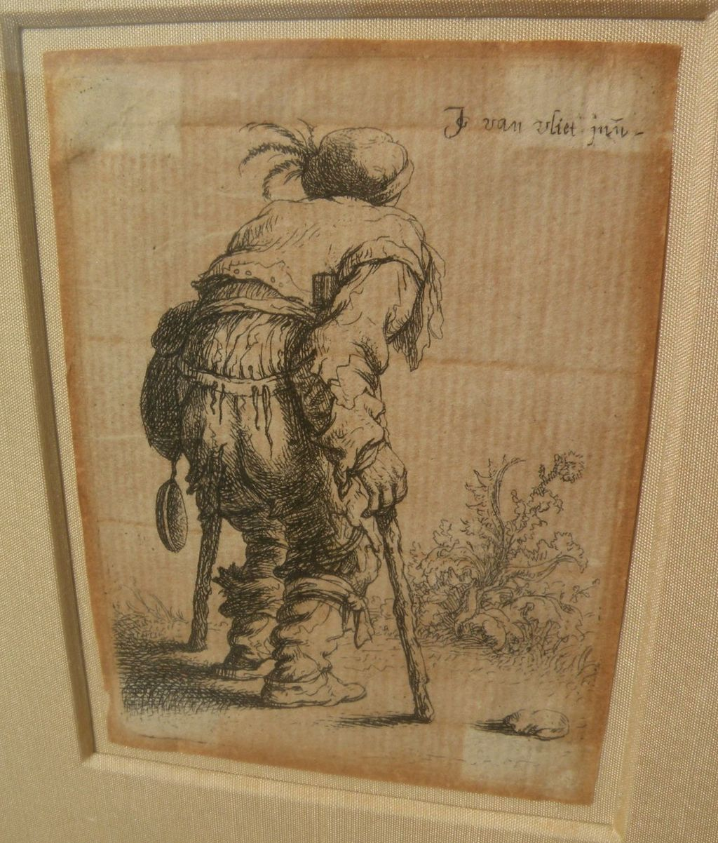 "JAN GILLISZ VAN VLIET (1605-1668) original etching ""Beggar on Two Crutches"" circa 1635"