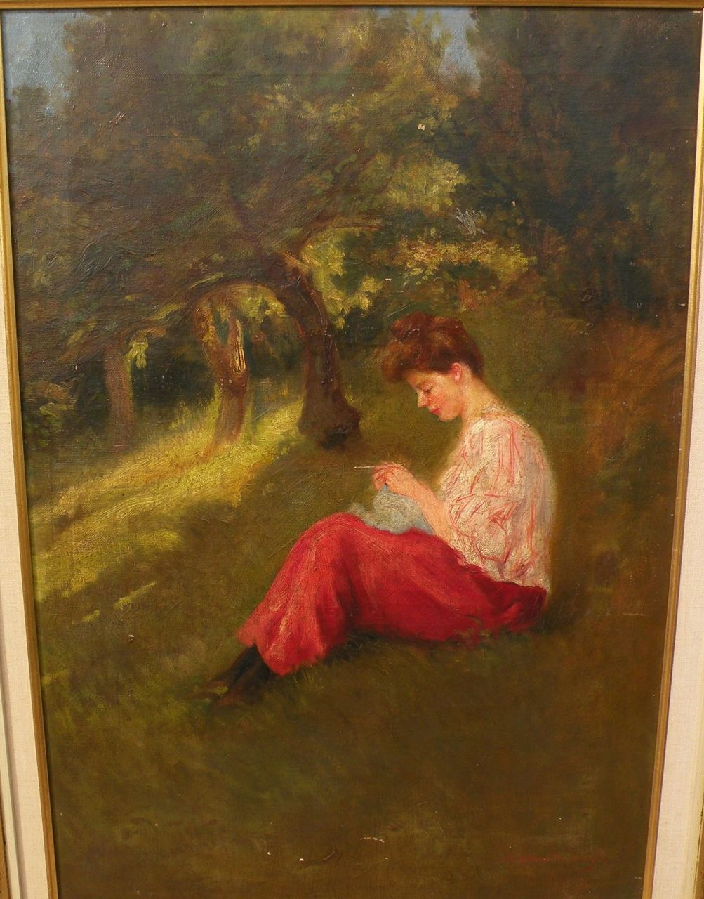 A. MORENO DE TORRES (Argentinian, 19th/20th century) oil painting of young woman on a grassy slope in a forest glade
