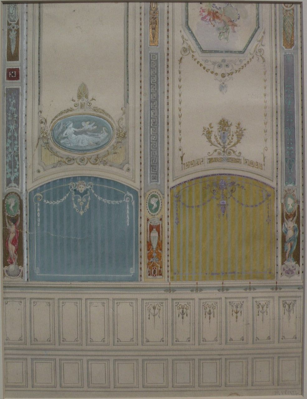 REINHOLD VOLKEL (1873-1938) fine original watercolor and gouache drawing of elegant parlor wall details