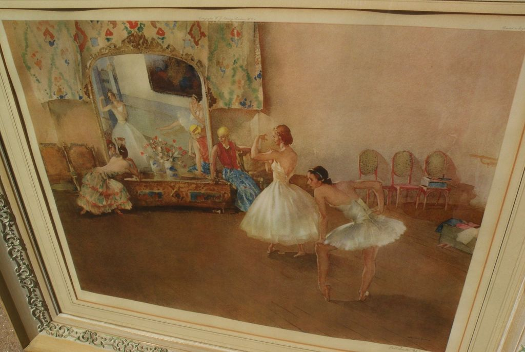 "WILLIAM RUSSELL FLINT (1880-1969) important English 20th century watercolor artist limited edition signed 1942 color print ""Mirror of the Ballet"""