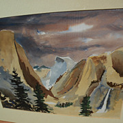 California plein air art impressionist watercolor painting of Yosemite Valley signed RIGHTER