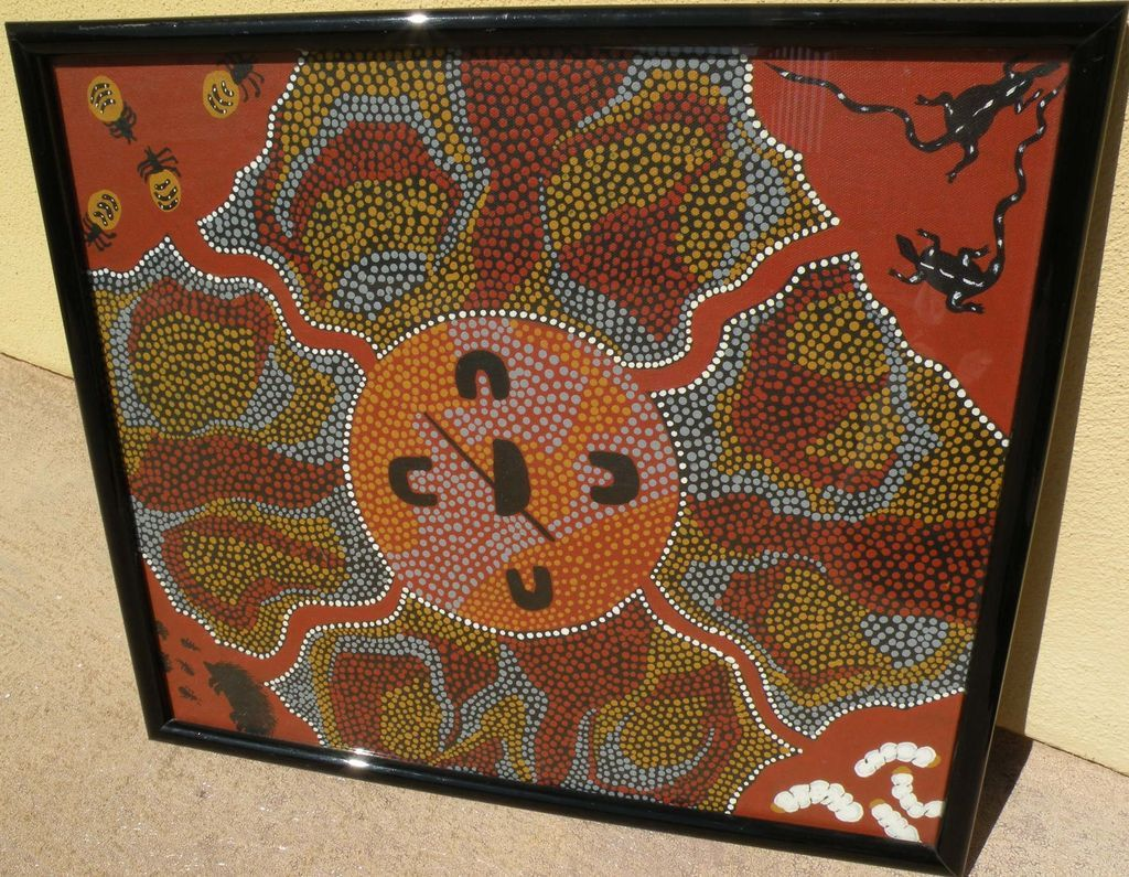 Australian aboriginal art dot painting by noted artist MYRA AH CHEE (1931-)‏