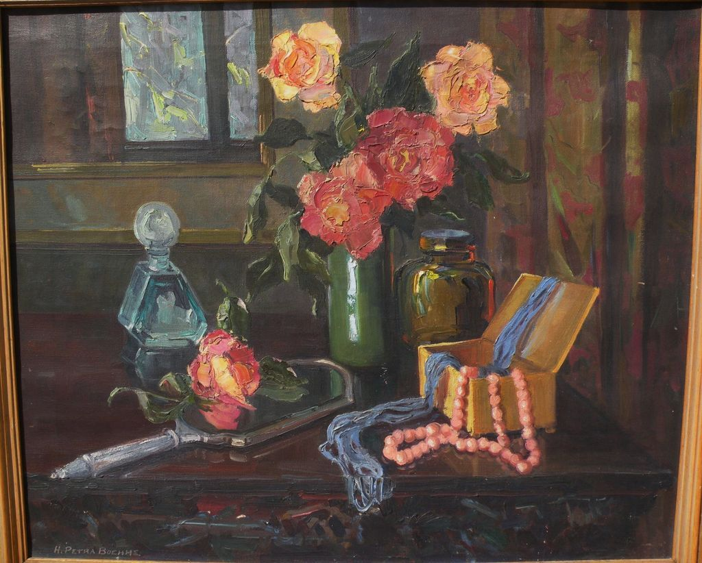 HAZEL  PETRA FETTERLEY BOEHME (1900-1941) impressionist floral still life painting by California artist