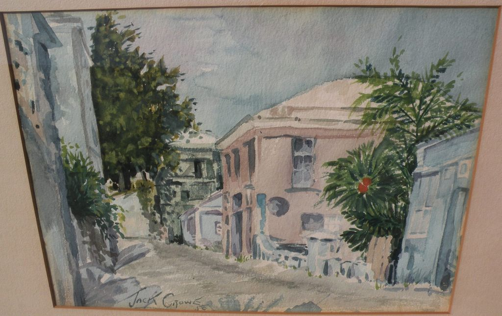 Bermuda art 1950 watercolor of street scene by American artist Jack B. Crowe