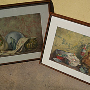 PAIR European antique watercolor still life paintings by artist Joanny Rec