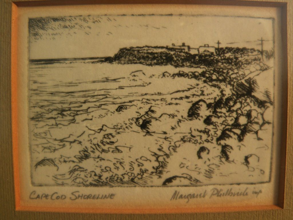 "MARGARET ELDER PHILBRICK (1914-1999) etching ""Cape Cod Shoreline"" by listed Massachusetts artist"