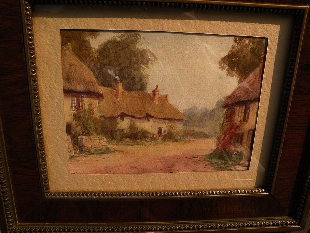 English vintage watercolor painting of thatched roof cottages by listed artist BURFORD JOYCE
