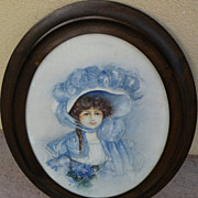 Circa 1910 watercolor painting of young woman in elegant bonnet