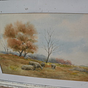 American circa 1900 watercolor landscape with sheep signed J. WRIGHT