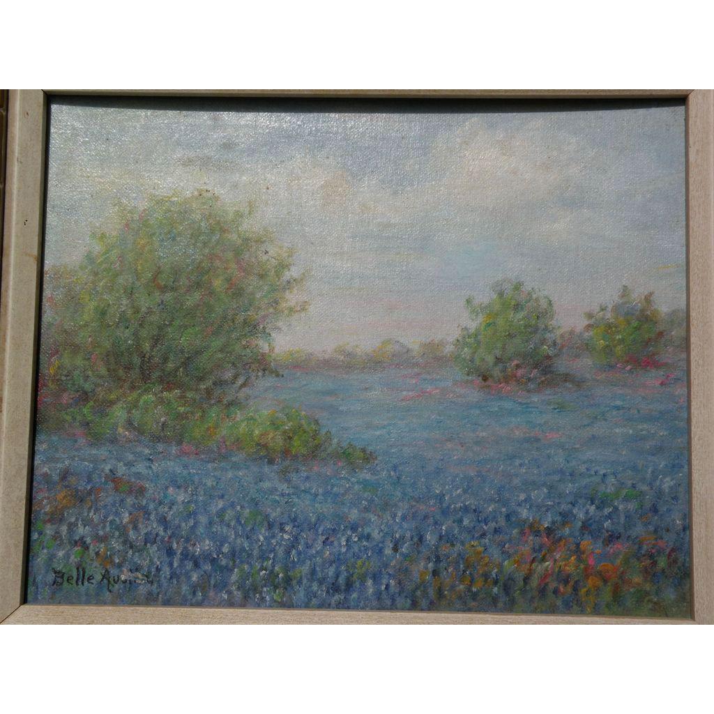 "Texas impressionist art bluebonnet painting by MARTHA ELIZABETH ""BELLE"" AUSTIN (1880-1980)"