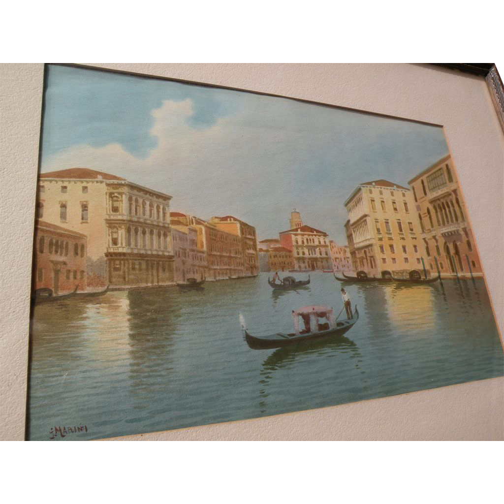 Italian circa 1900 watercolor of Venice canal  with gondola