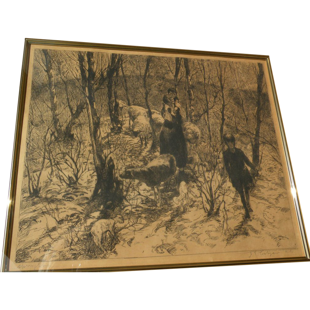 "JOHN EDWARD COSTIGAN (1888-1972) American art pencil signed etching ""Springtime"""