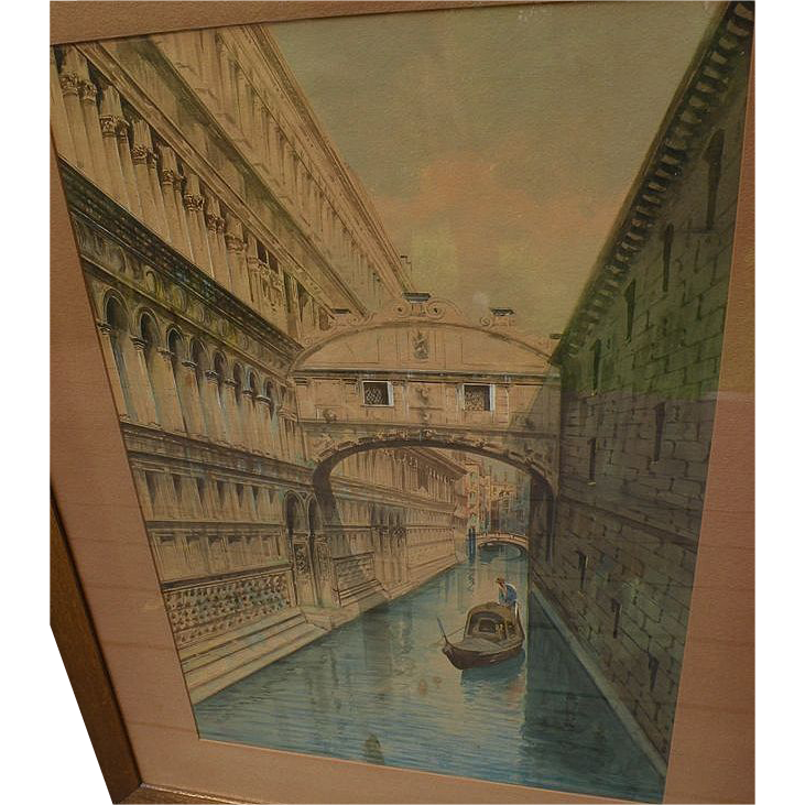 Circa 1900 large watercolor painting of Venice Italy canal signed B. Venuti