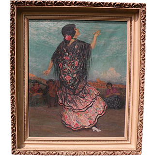 Old painting of Spanish flamenca dancer signed