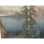 Oregon art old impressionist painting of Crater Lake
