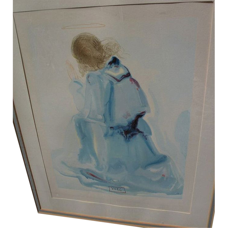 """SALVADOR DALI (1904-1989) woodblock print """"The Angel"""" from Divine Comedy series, 1964"""