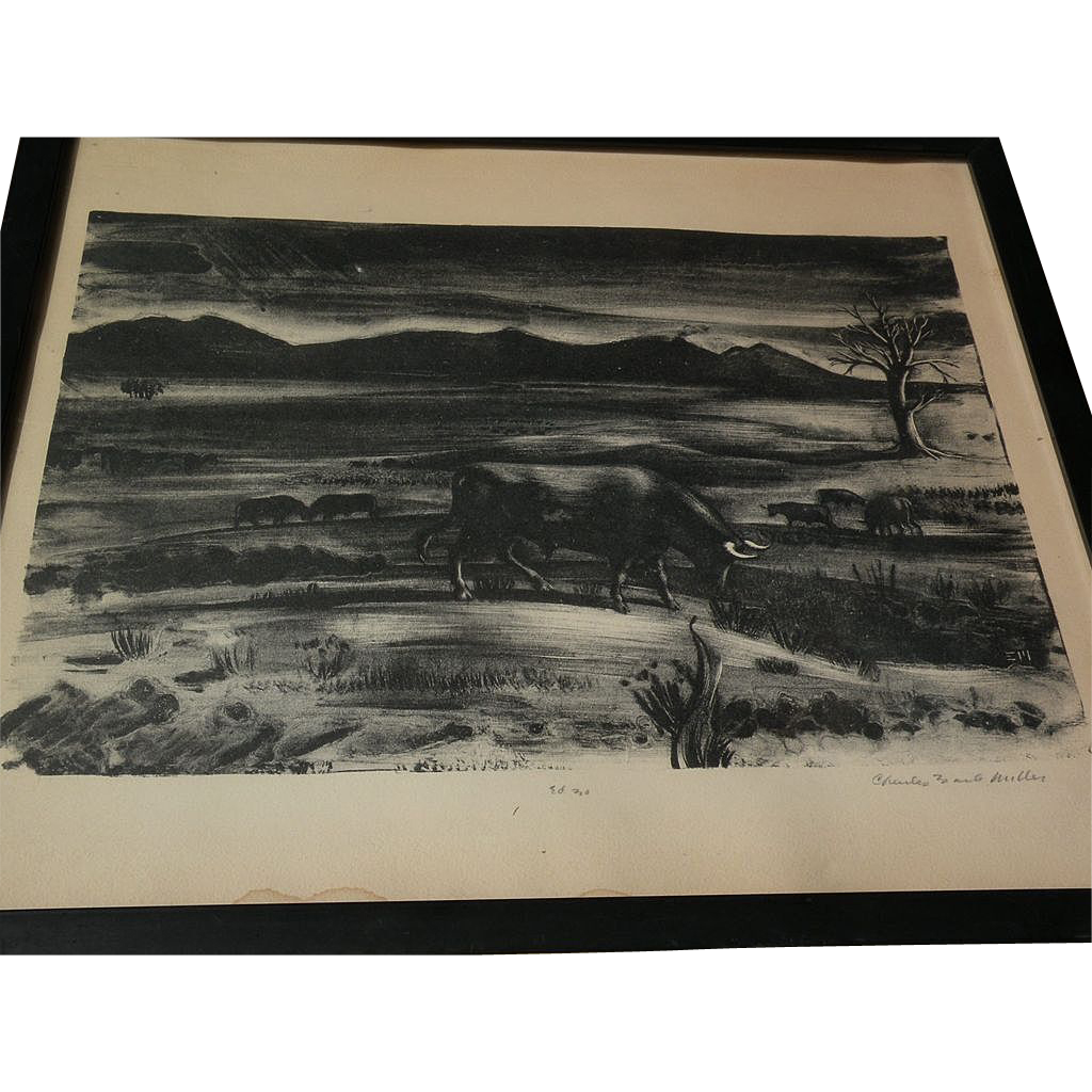 CHARLES EARLE MILLER (1907-) pencil signed limited edition lithograph by WPA era artist