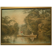 American 1898 watercolor painting of two women in boat on a lake, signed Streeton