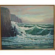 "ROY ROPP (1888-1974) California plein air art large painting ""Laguna Surf"" 1959"