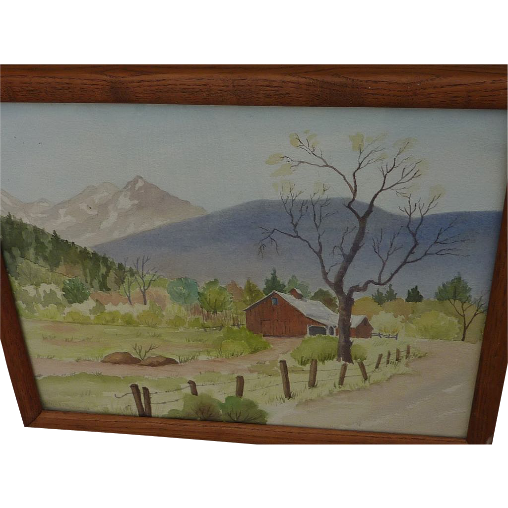 Mountain landscape with barn watercolor painting signed Elizabeth Quiroga