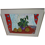 Contemporary colorful watercolor still life painting in Matisse style by San Diego watercolor artist