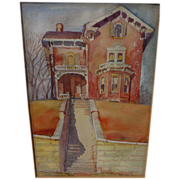Watercolor of mid nineteenth century house signed and dated 1941