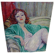 GEORGE EDGERLY HARRIS (1898-1938) oil painting of lounging attractive young red-haired woman