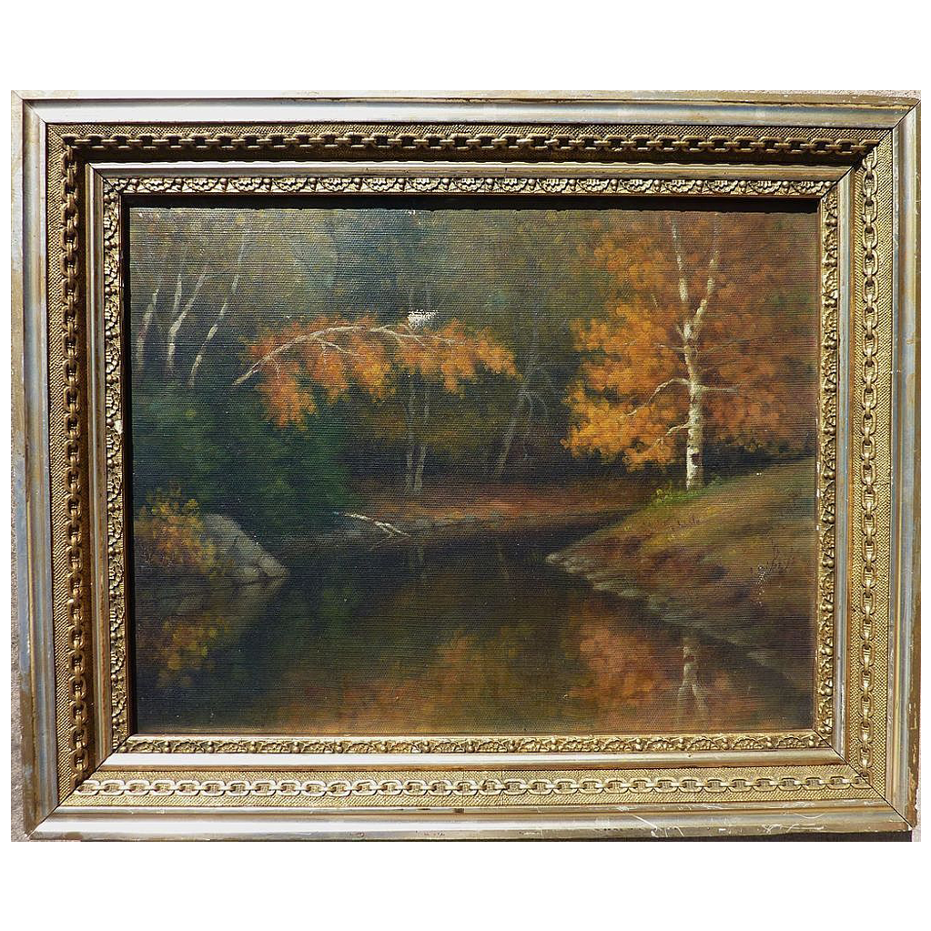 "PERCY A. SANBORN (1849-1929) impressionist oil painting ""Bend in Little River"" by one of Maine's best known artists"