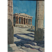 Contemporary signed Greek watercolor painting of the Acropolis in Athens