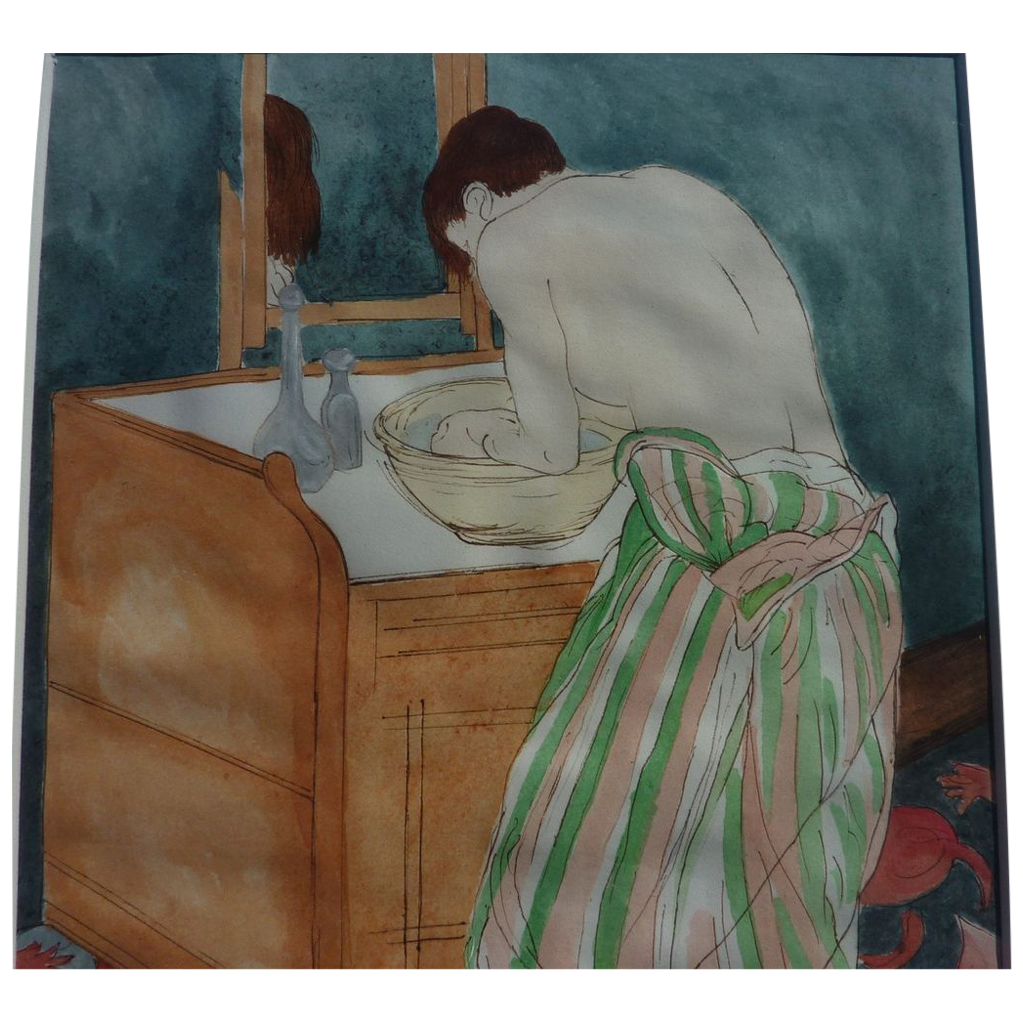 Beautiful ink and watercolor original drawing of a woman at her toilette