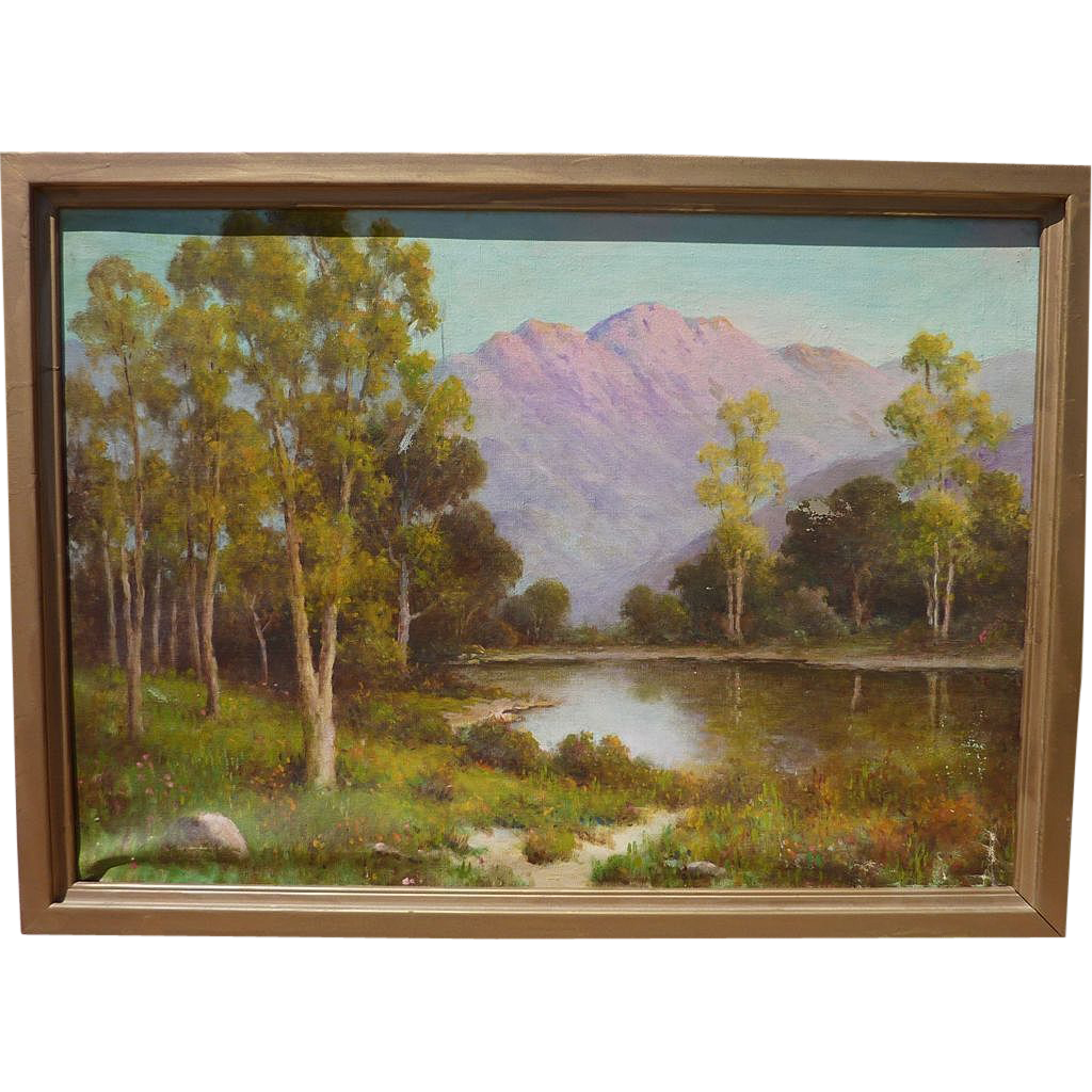 HERBERT SARTELLE (1885-1955) California plein air art  mountain landscape painting