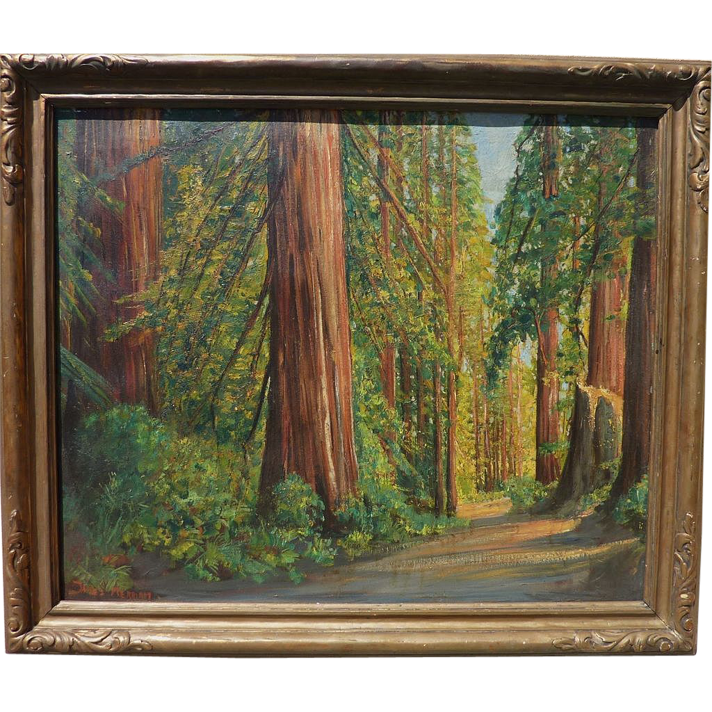 JAMES MERRIAM (1880-1951) California plein air art large oil painting of redwood or sequoia forest interior