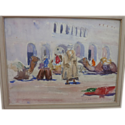 FRANK A. BROWN (1876-1962) watercolor painting of Algerian orientalist street scene‏