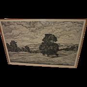 LUIGI LUCIONI (1900-1988) American art pencil signed 1942 etching