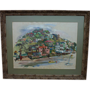 Large signed gouache painting of Corinthian Island (Tiburon) California near San Francisco