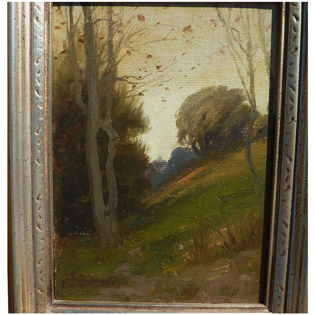 FRANK J. GIRARDIN (1856-1945) oil landscape painting by Indiana and California impressionist