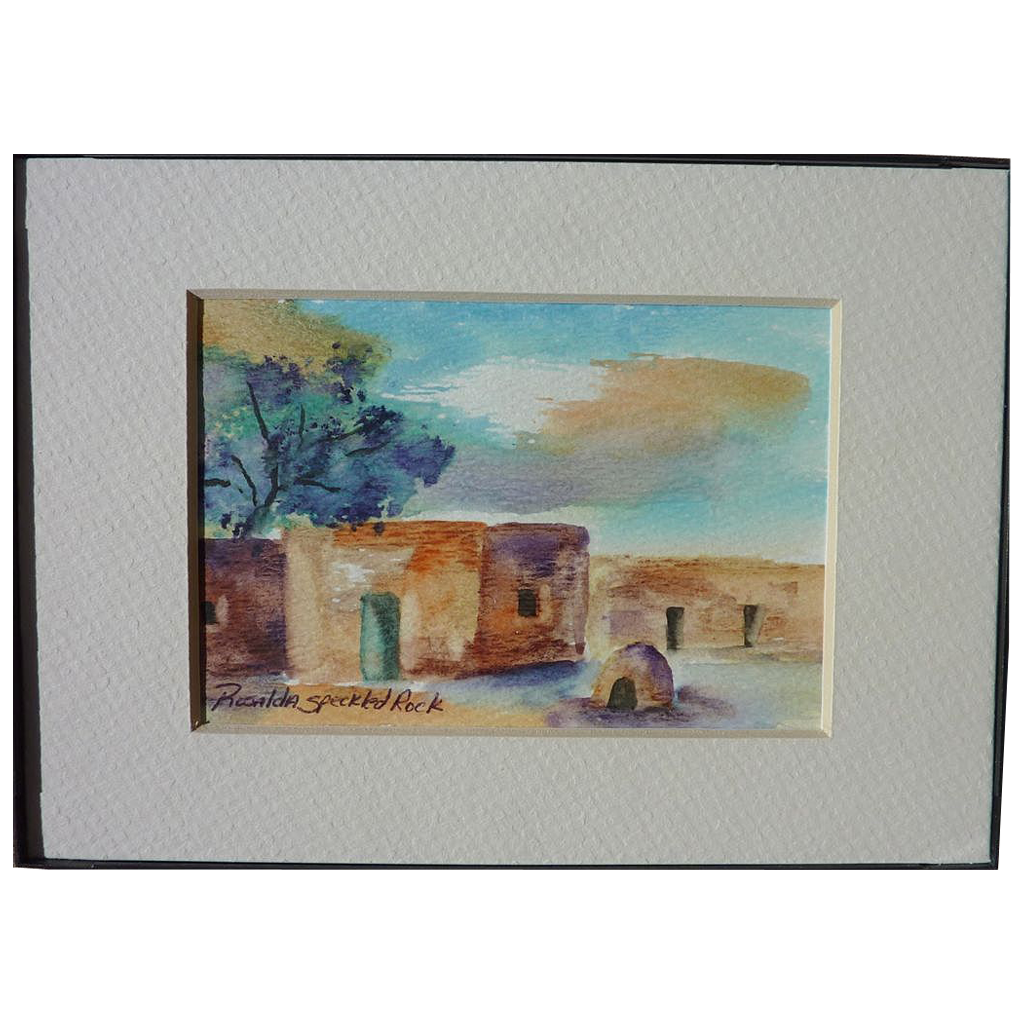 new mexico art small watercolor painting of adobe village