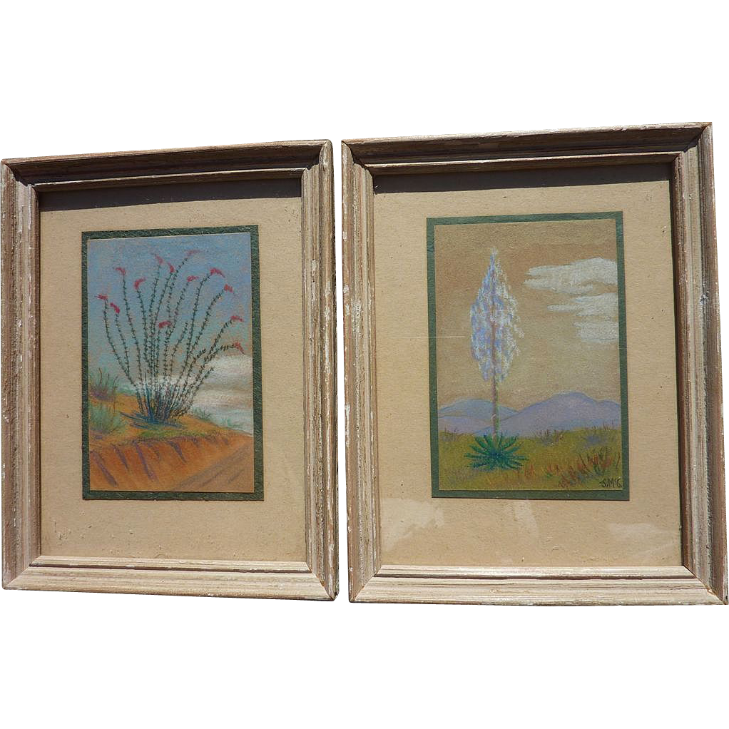 PAIR of miniature pastel landscape drawings of California desert