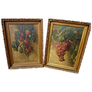 JESSIE M. WASHBURN (1850-1942) **pair** still life paintings of peaches and hanging grapes by listed California artist