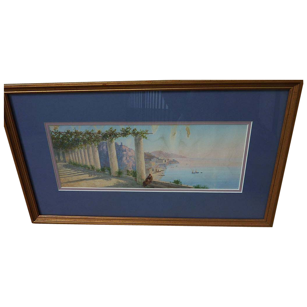 Italian watercolor and gouache painting of coast likely by member of GIANNI family