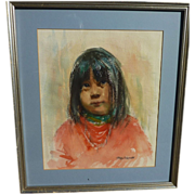 EUNICE LOUISE MARTCHENKO (1919-1985) watercolor painting of Native American girl by California artist